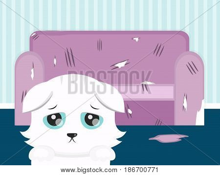 The cat spoiled the sofa. sad cat vector flat cartoon illustration design. Pets sharpening claws on the sofa concept. torn cushion