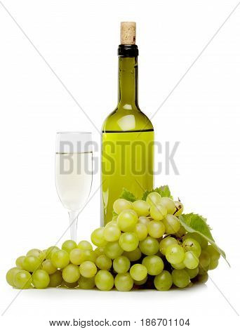 Wine grape wine bottle grapes wine glass bunch of grapes isolated on white