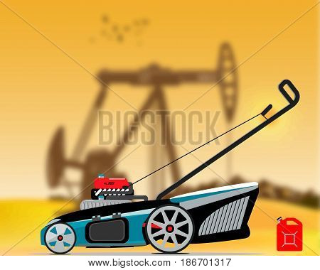 Illustration of an gas lawn mower with blur background of a oil production station