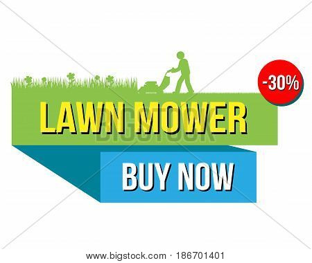 Vector illustration of lower mower sale with buy now text isolated on white.