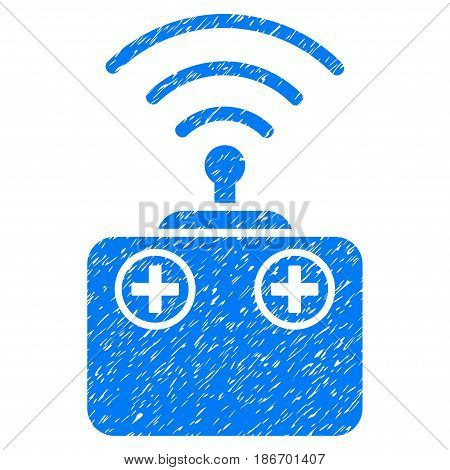 Grunge Radio Control Device icon with grunge design and dirty texture. Unclean vector blue pictogram for rubber seal stamp imitations and watermarks. Draft sign symbol.