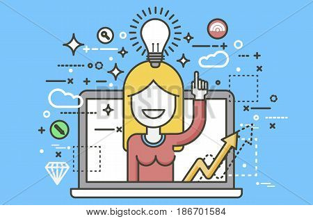Stock vector illustration woman with idea lamp light bulb above head and index finger up design element for solution service business online help presentation startup line art yellow background icon.