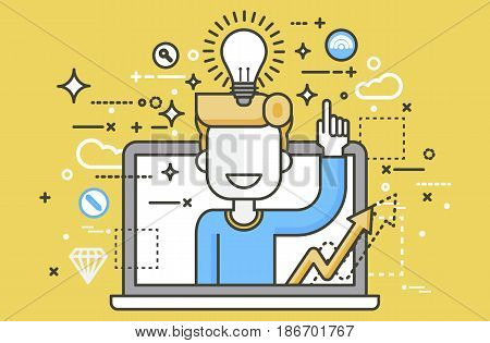 Stock vector illustration man with idea lamp light bulb above head and index finger up design element for solution service business online help presentation startup line art yellow background icon.
