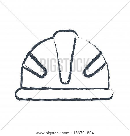 monochrome blurred silhouette of protective worker helmet vector illustration