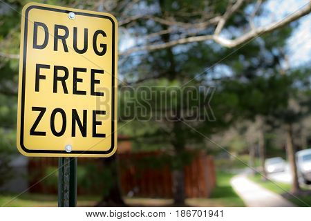 Drug Free Zone Road Sign in Yellow and Black