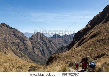 The top of Dead Women's Pass (Warmiwañusca), Inca Trail, Peru