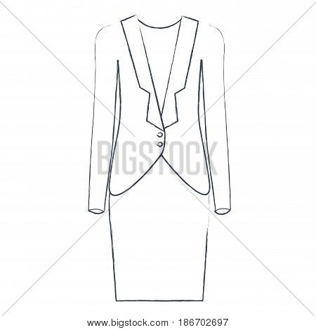 monochrome blurred silhouette of female formal suit clothes vector illustration