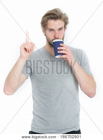 Young Man With Takeaway Cup Drinking Coffee Or Tea, Idea