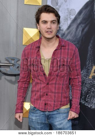 LOS ANGELES - MAY 08:  Emile Hirsch arrives for the 'King Arthur: Legend Of The Sword