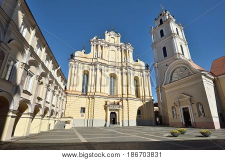 The Church of St. Johns St. John the Baptist and St. John the Apostle and Evangelist is located at the Old Town of Vilnius Lithuania and dominates the university (Vilnius University) ensemble