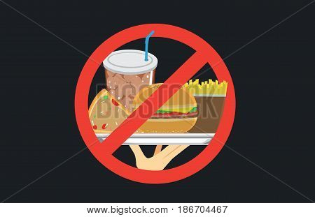 Hand holding American meal in silver dish with stop signal . Illustration about eating unhealthy.