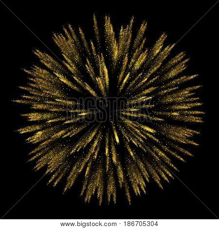Vector Abstract shiny gold star particles design element with glitter effect on dark background.