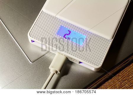 Power Bank Lying On The Surface Of The Graphic Tablet