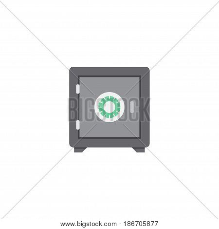 Flat Safe Element. Vector Illustration Of Flat Strongbox Isolated On Clean Background. Can Be Used As Safe, Strongbox And Secure Symbols.
