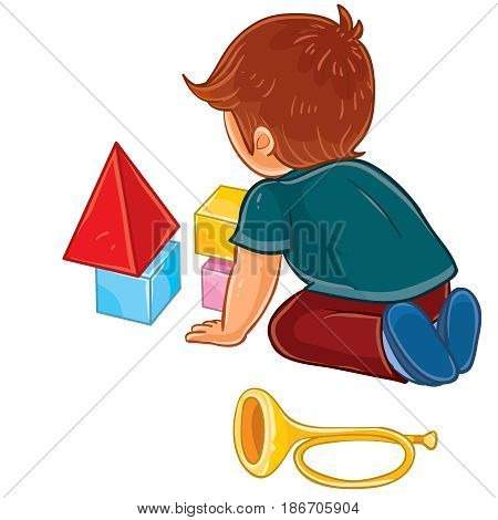 Vector clip art illustration of a little boy sitting on the floor and playing with baby cubes. Print, template, design element
