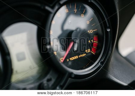 Tachometer in modern tourist motorcycle instrument panel