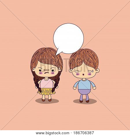 beige color background angry girl braids hair with dialogue box and boy worried vector illustration