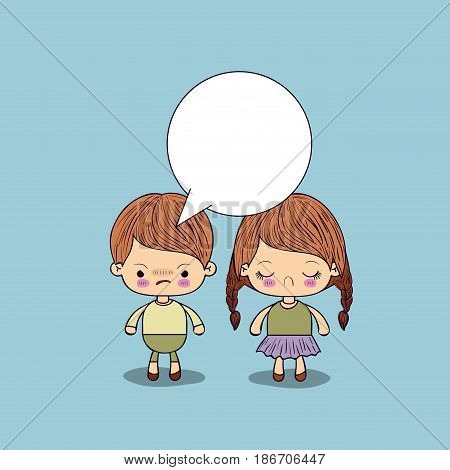 blue color background angry boy with dialogue box and sad girl vector illustration
