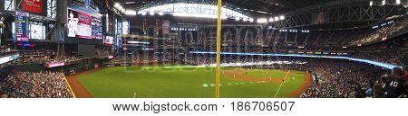 PHOENIX, ARIZONA, MAY 13: Chase Field on May 13, 2017, in Phoenix, Arizona. An Arizona Diamondbacks - Pittsburgh Pirates major league baseball game at Chase Field in Phoenix, Arizona.