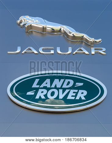 Samara Russia - May 13 2017: Jaguar Land Rover automobile dealership sign. Jaguar is a brand of the British car manufacturer Jaguar Land Rover