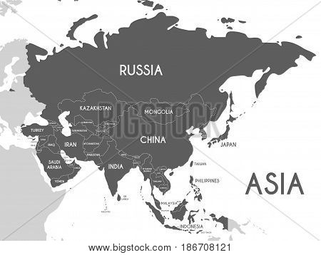 Political Asia Map vector illustration isolated on white background. Editable and clearly labeled layers.