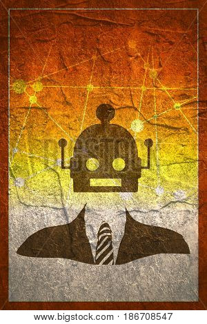 Businessman with cute vintage robot head. Robotics industry relative image. Grunge concrete texture