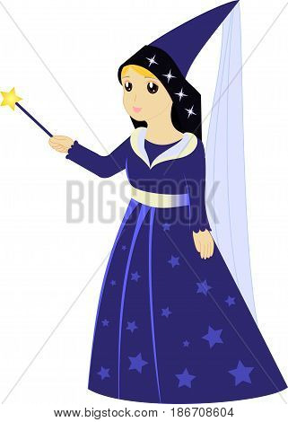 Cartoon fairy sorceress with magic wand vector illustration