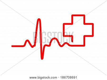 Red heartbeat sign with medical cross. Vector illustration. Medical symbol in flat outline style.