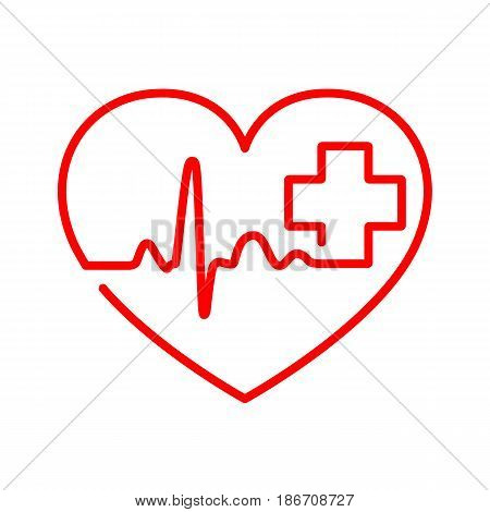 Red heart with heartbeat sign and with cross. Vector illustration. Heart in flat outline style.