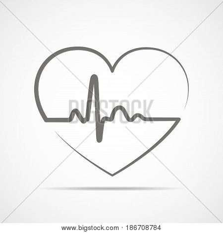 Black heart icon with sign heartbeat. Vector illustration. Heart in flat outline style.
