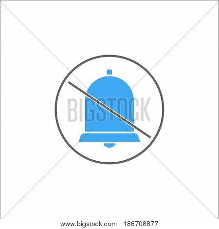 Soundless and mute solid icon, mobile sign and silent with bell, vector graphics, a colorful linear pattern on a white background, eps 10.