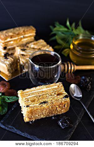 Honey Cake On A Dark Background