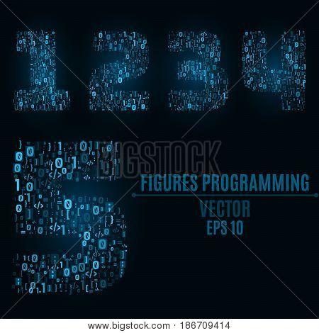 The blue numbers of the symbols and the programming elements. Numbers 1 2 3 4 5. Light glow. Binary code Vector illustration