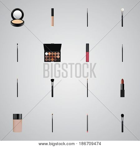 Realistic Eye Paintbrush, Make-Up Product, Pomade And Other Vector Elements. Set Of Greasepaint Realistic Symbols Also Includes Pencil, Contour, Concealer Objects.