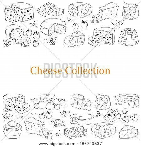 Vector banner template with different types of cheese, Mozzarella, Swiss Cheese, Gouda, Roquefort, Parmesan, Cheddar, Gorgonzola , Mascarpone, Brie Ricotta Camembert  hand drawn illustration
