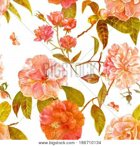 A vintage style seamless background pattern with hand drawn watercolor camellia and rose flowers in bloom, slightly toned