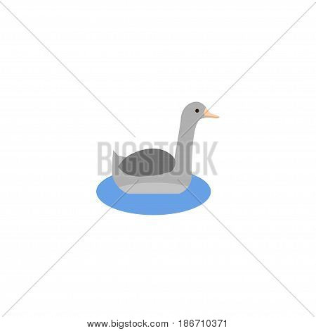 Flat Goose Element. Vector Illustration Of Flat Waterbird Isolated On Clean Background. Can Be Used As Waterbird, Goose And Neck Symbols.