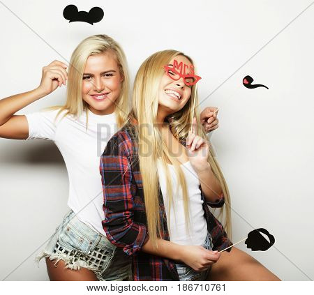 two stylish sexy girls best friends ready for party