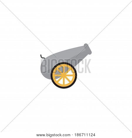 Flat Cannon Element. Vector Illustration Of Flat Artillery Isolated On Clean Background. Can Be Used As Cannon, Artillery And Ordnance Symbols.