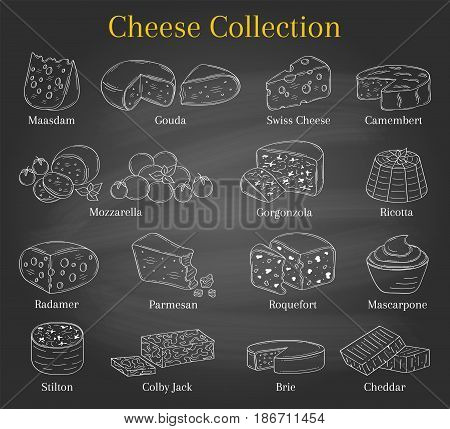 Vector set of different types of cheese, Mozzarella, Swiss Cheese, Gouda, Roquefort, Parmesan, Cheddar, Gorgonzola , Mascarpone, Brie, Camembert hand drawn illustration isolated on chalkboard background