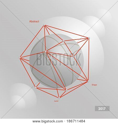 Gray abstract volumetric sphere in a red polygonal mesh