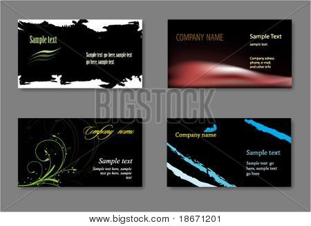 Black vector business card template.