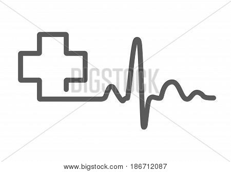 Gray heartbeat sign with medical cross. Vector illustration. Medical symbol in flat outline style.
