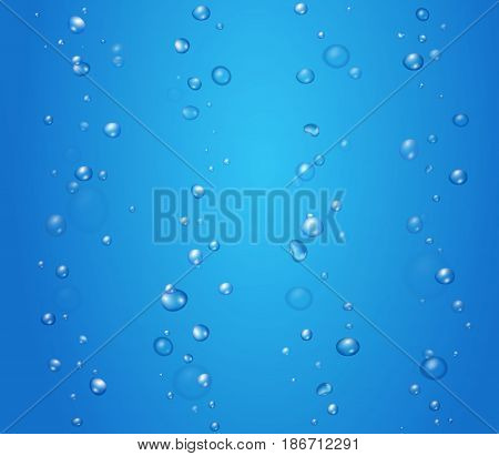 Bubbles under water illustration on blue background vector.