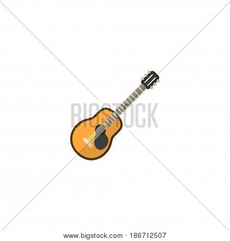 Flat Guitar Element. Vector Illustration Of Flat Music Isolated On Clean Background. Can Be Used As Music, Guitar And Strings Symbols.