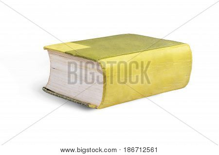 Closed old book isolated on a white background with clipping path.