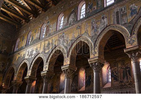 Monreale Italy - October 13, 2009: Interior Of The Cathedral Of Monreale