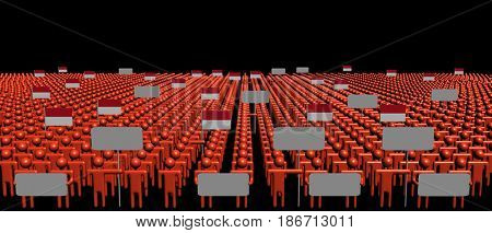 Crowd of people with signs and Indonesian flags 3d illustration