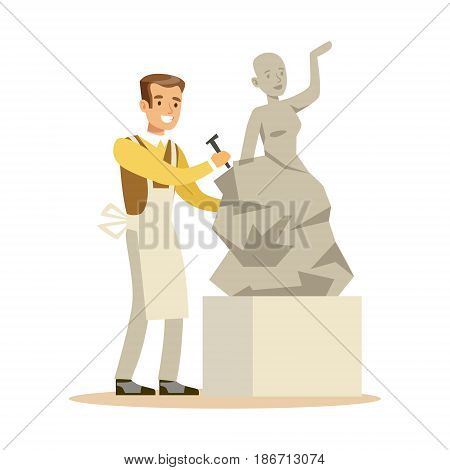 Young man sculptor working on his sculpture. Craft hobby and profession colorful character vector Illustration isolated on a white background