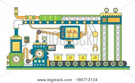 Industrial conveyor belt line vector illustration. Conveyor process abstract machine production